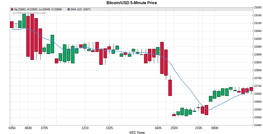 Bitcoin/USD 5-minute Price Chart